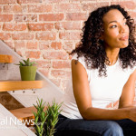 African-American-Woman-Thinking-Stairs-Drink-Coffee-Tea