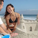 Couple-Beach-Sand-Castle-Ocean-Vacation