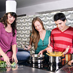 Friends-Cooking-Class-Chef-Hat-Happy-Laughing-Vegetables-Pasta