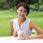Woman-Tea-Table-Coffee-Outside-Asian