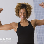 Weight-Loss-Scale-Woman-Flex-Muscles-Bathroom