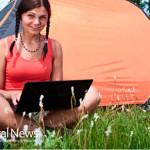 Woman-Computer-Laptop-Tent-Camping-Nature-Trees